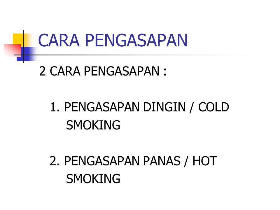 CARA PENGASAPAN 2 CARA PENGASAPAN : 1. PENGASAPAN DINGIN / COLD