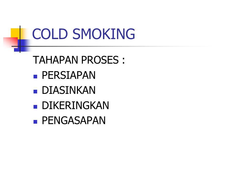 COLD SMOKING TAHAPAN PROSES : PERSIAPAN DIASINKAN DIKERINGKAN