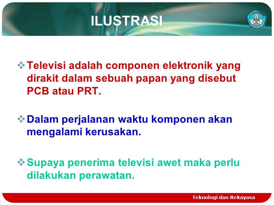 ILUSTRASI Televisi adalah componen elektronik yang dirakit dalam sebuah papan yang disebut PCB atau PRT.