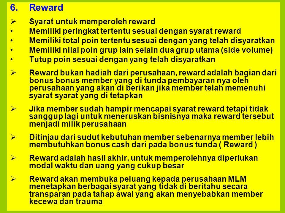 Reward Syarat untuk memperoleh reward