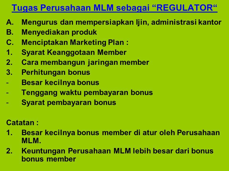 Tugas Perusahaan MLM sebagai REGULATOR