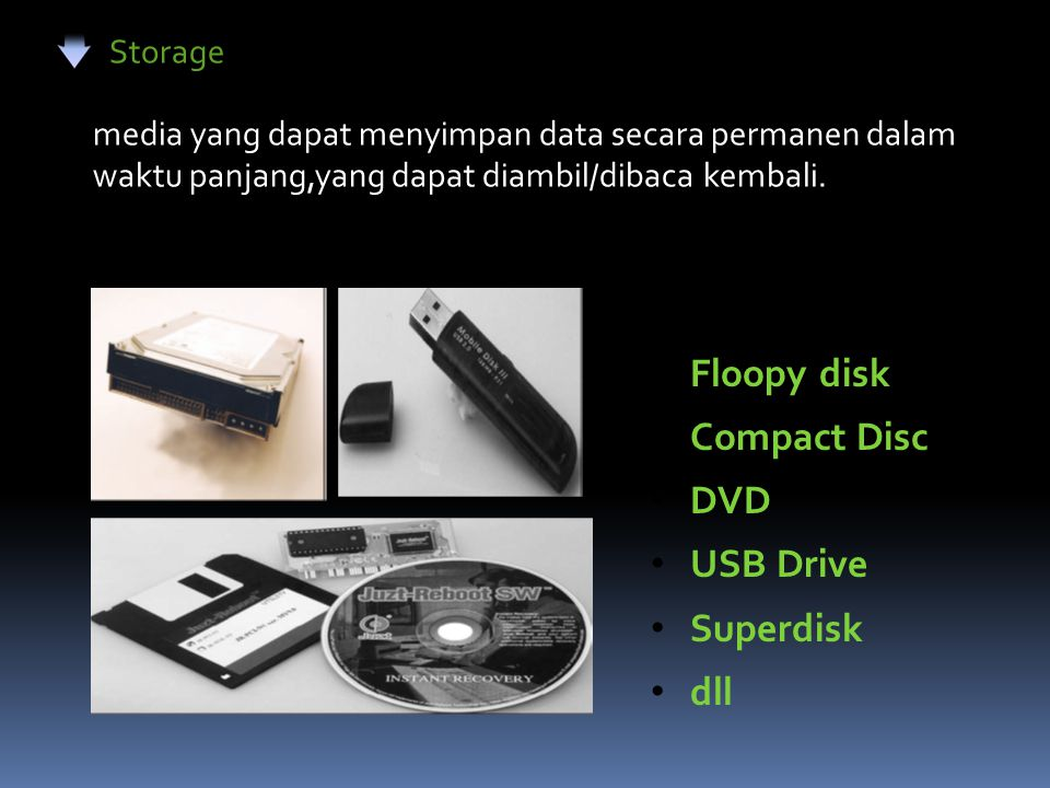 Floopy disk Compact Disc DVD USB Drive Superdisk dll Storage