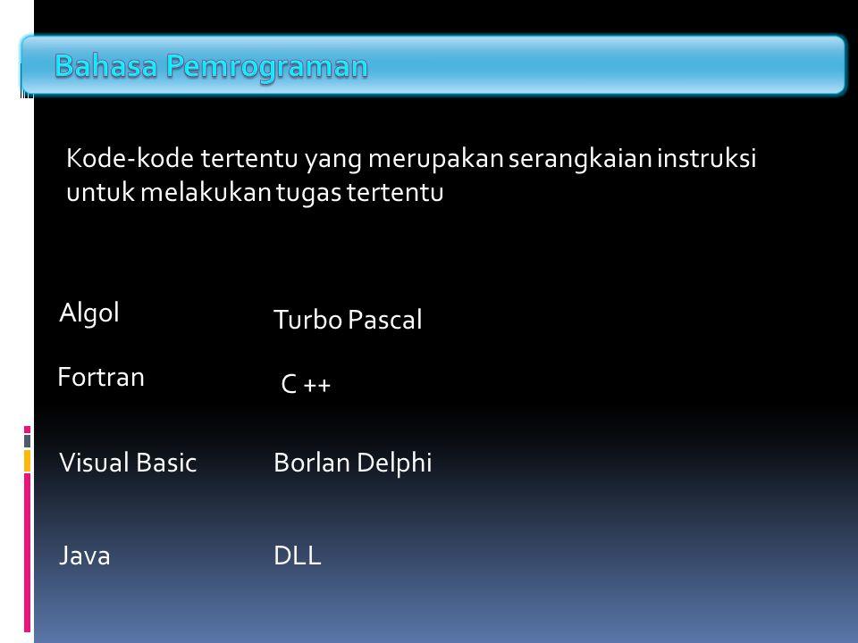 Bahasa Pemrograman Kode-kode tertentu yang merupakan serangkaian instruksi untuk melakukan tugas tertentu.