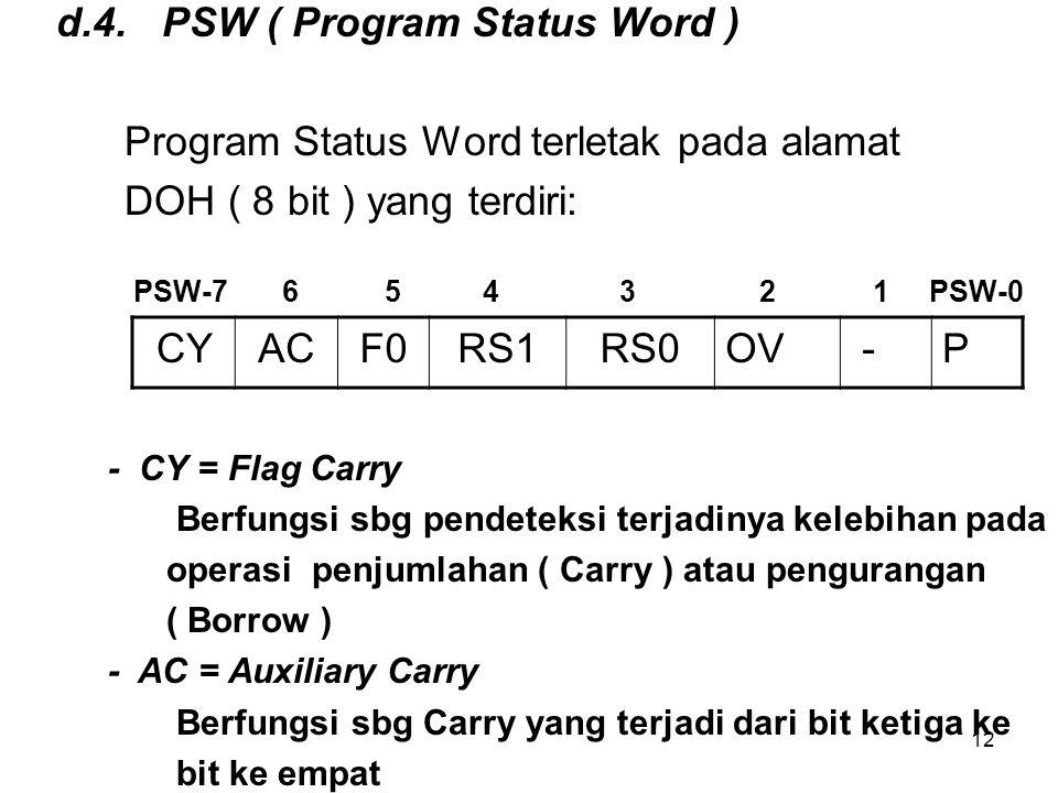 d.4. PSW ( Program Status Word )
