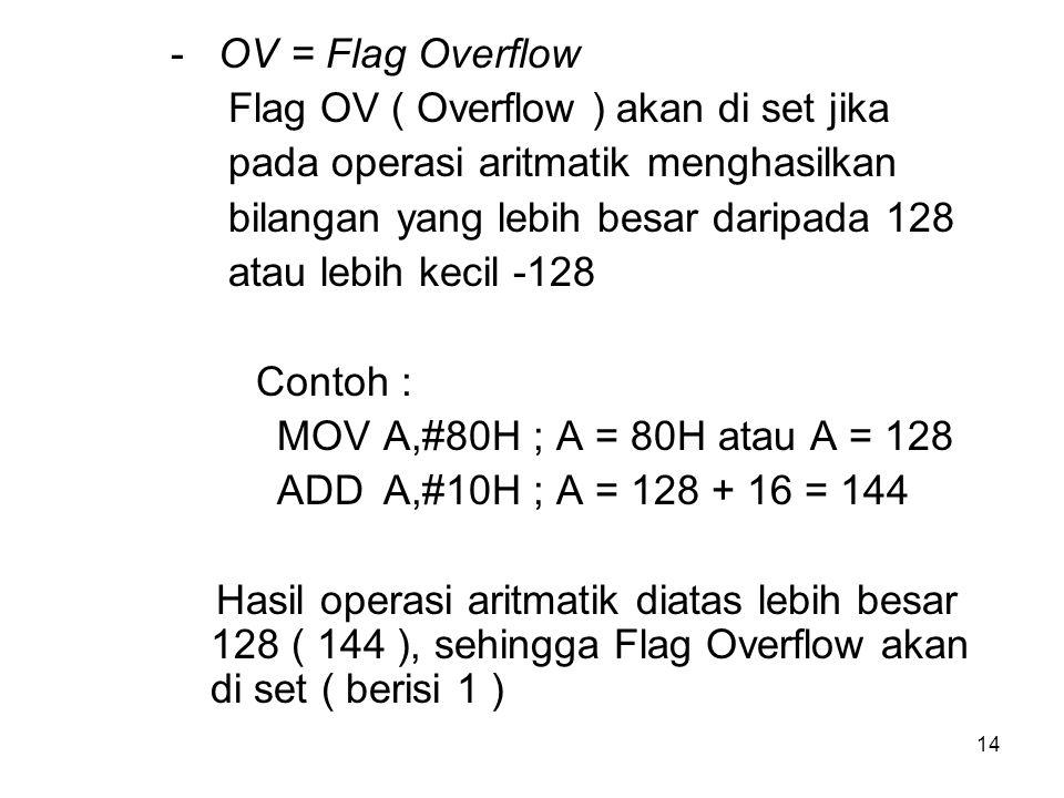 - OV = Flag Overflow Flag OV ( Overflow ) akan di set jika. pada operasi aritmatik menghasilkan.