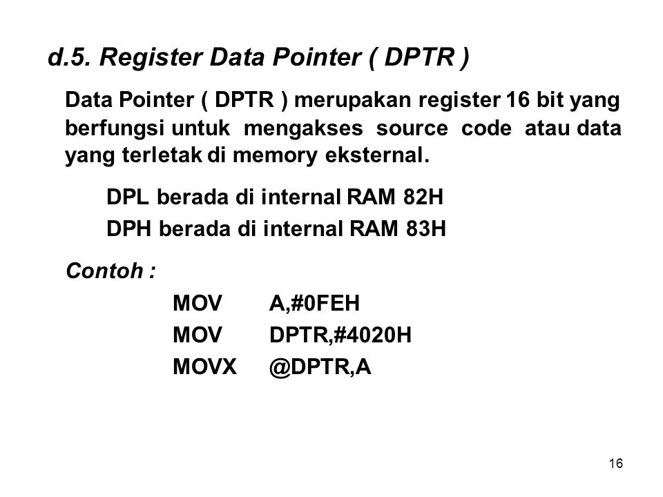 d.5. Register Data Pointer ( DPTR )