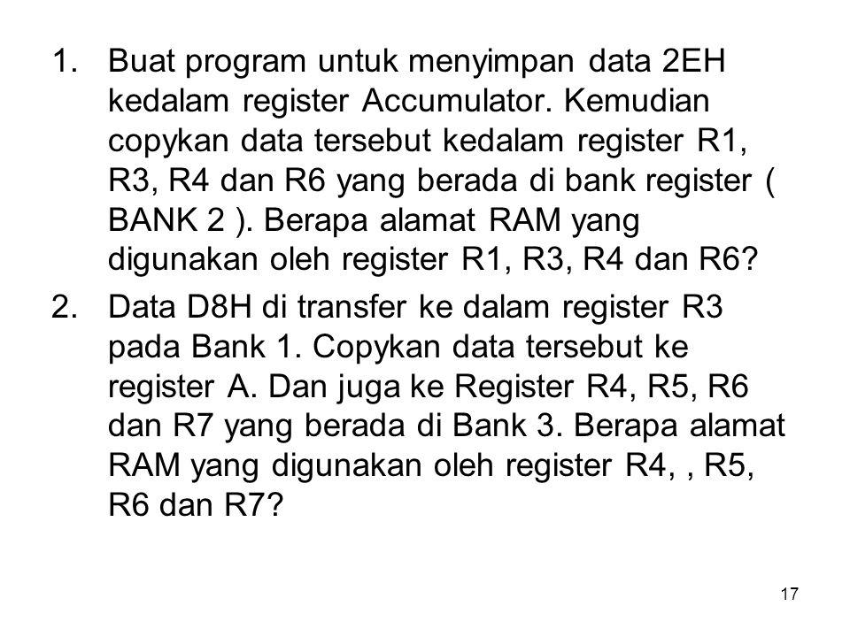Buat program untuk menyimpan data 2EH kedalam register Accumulator