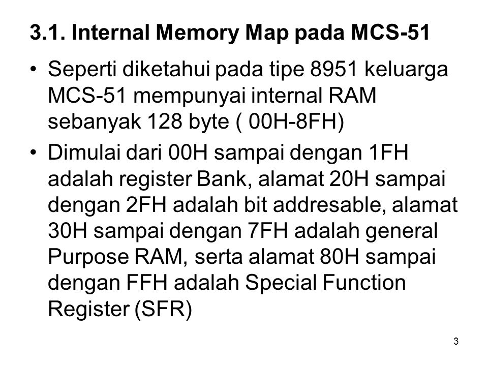 3.1. Internal Memory Map pada MCS-51