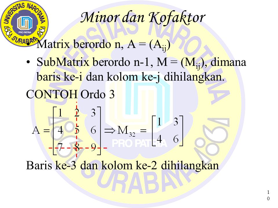 Minor dan Kofaktor Matrix berordo n, A = (Aij)