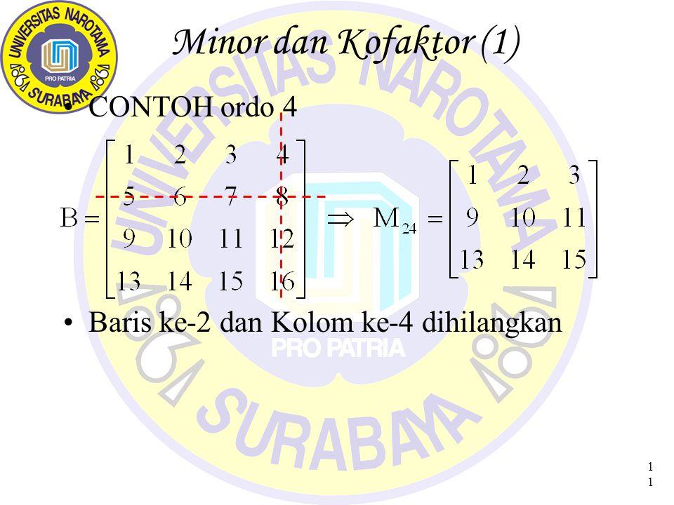 Minor dan Kofaktor (1) CONTOH ordo 4