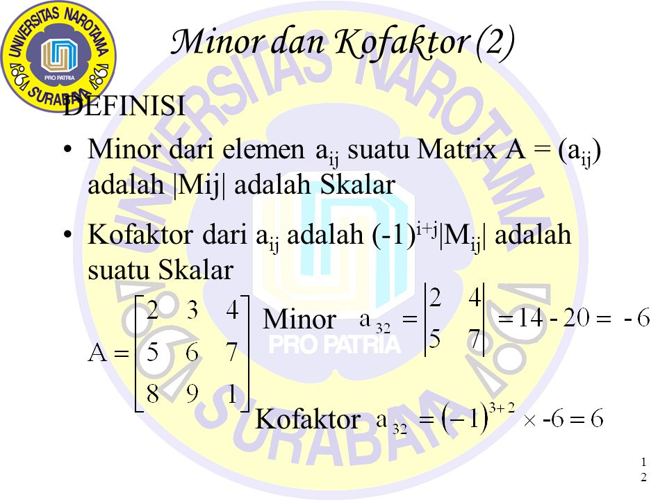 Minor dan Kofaktor (2) DEFINISI