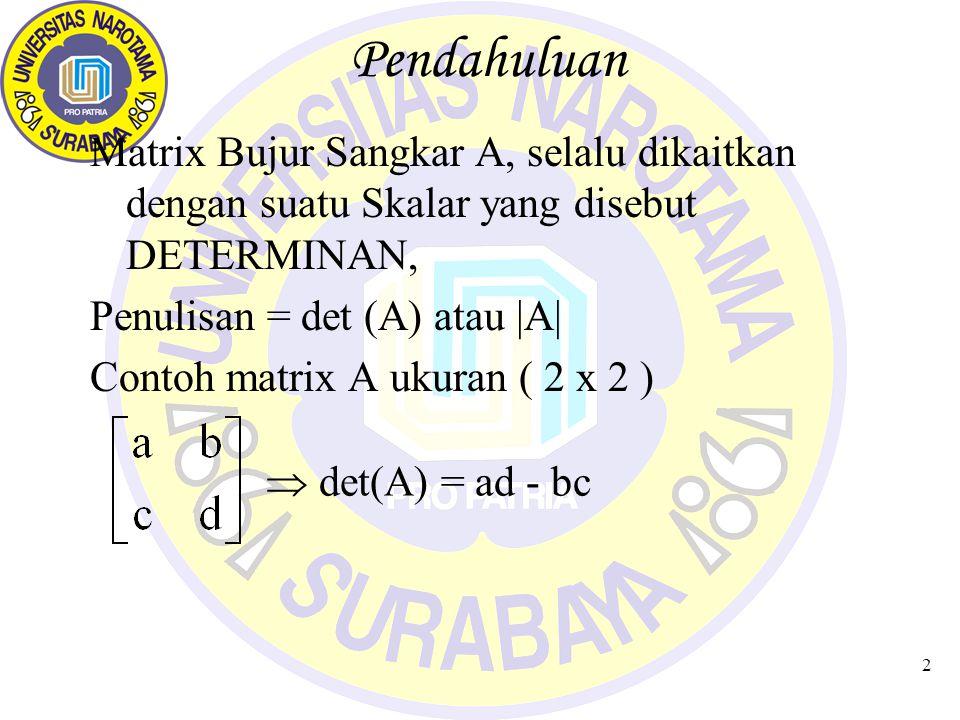 Pendahuluan Matrix Bujur Sangkar A, selalu dikaitkan dengan suatu Skalar yang disebut DETERMINAN, Penulisan = det (A) atau |A|