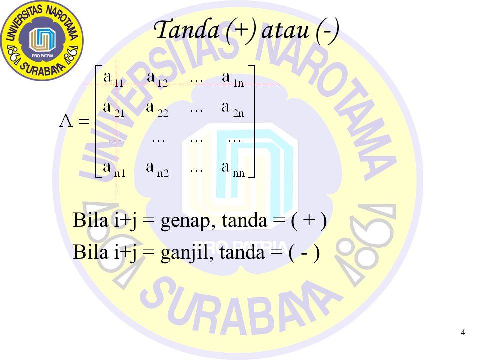 Tanda (+) atau (-) Bila i+j = genap, tanda = ( + )