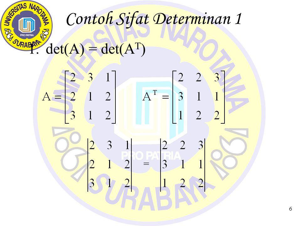 Contoh Sifat Determinan 1