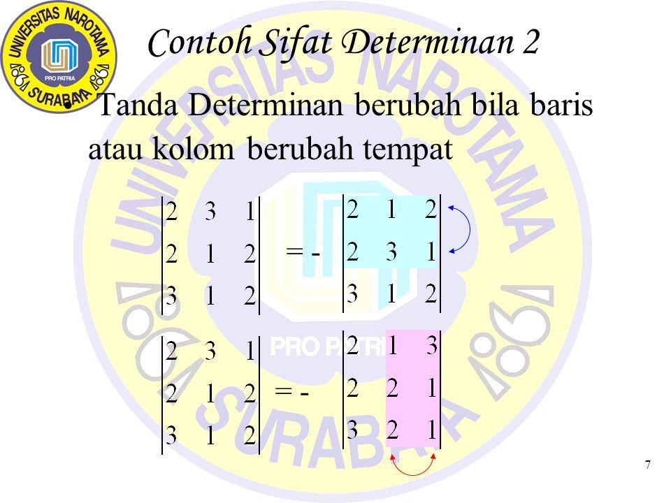 Contoh Sifat Determinan 2