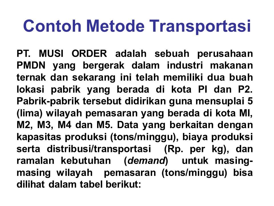 Contoh Metode Transportasi