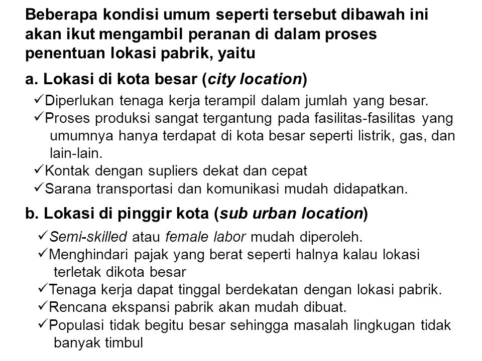 Lokasi di kota besar (city location)