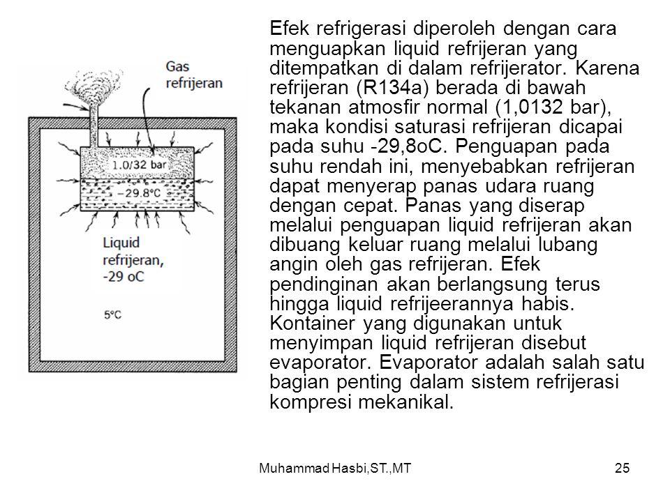 Efek refrigerasi diperoleh dengan cara menguapkan liquid refrijeran yang ditempatkan di dalam refrijerator. Karena refrijeran (R134a) berada di bawah tekanan atmosfir normal (1,0132 bar), maka kondisi saturasi refrijeran dicapai pada suhu -29,8oC. Penguapan pada suhu rendah ini, menyebabkan refrijeran dapat menyerap panas udara ruang dengan cepat. Panas yang diserap melalui penguapan liquid refrijeran akan dibuang keluar ruang melalui lubang angin oleh gas refrijeran. Efek pendinginan akan berlangsung terus hingga liquid refrijeerannya habis. Kontainer yang digunakan untuk menyimpan liquid refrijeran disebut evaporator. Evaporator adalah salah satu bagian penting dalam sistem refrijerasi kompresi mekanikal.