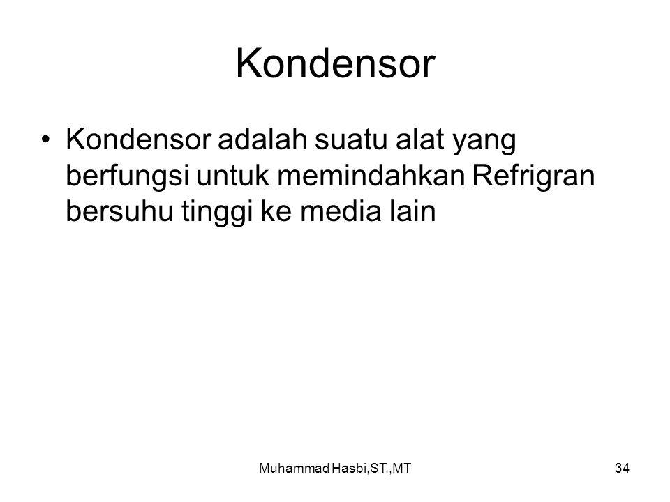Kondensor Kondensor adalah suatu alat yang berfungsi untuk memindahkan Refrigran bersuhu tinggi ke media lain.