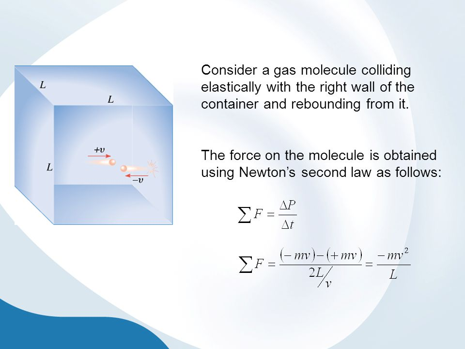 Consider a gas molecule colliding elastically with the right wall of the container and rebounding from it.