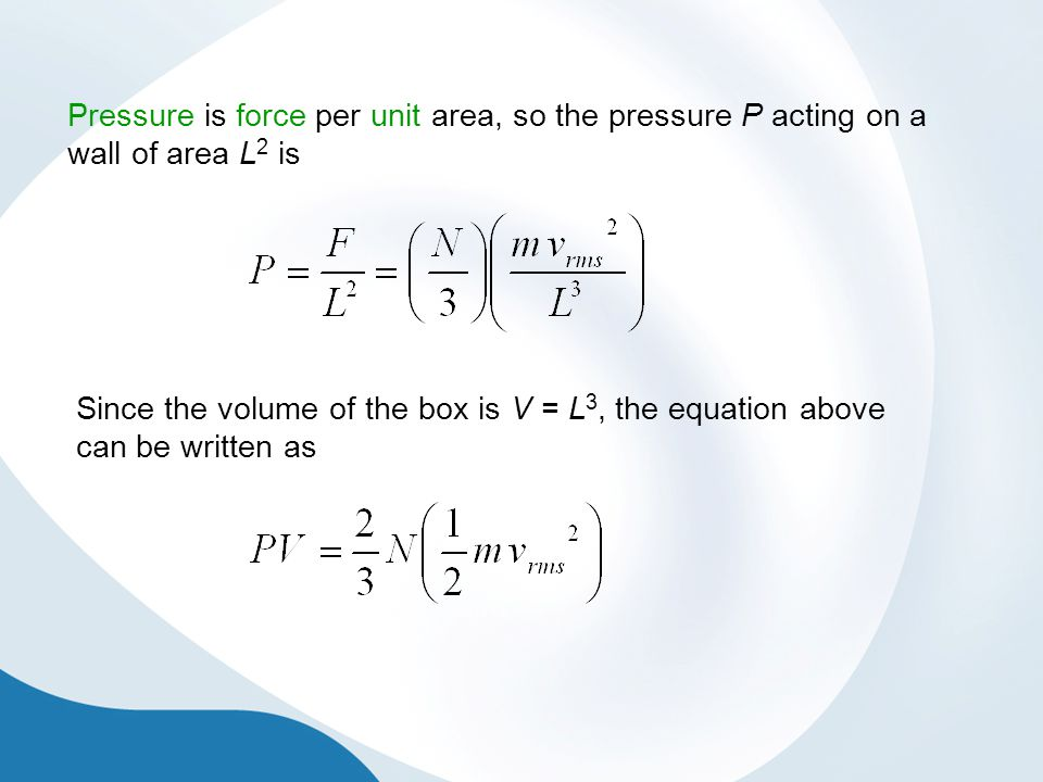 Pressure is force per unit area, so the pressure P acting on a wall of area L2 is