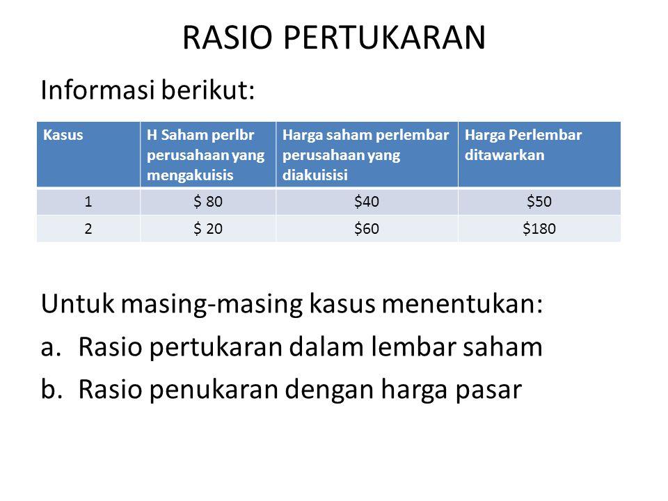 RASIO PERTUKARAN Informasi berikut: