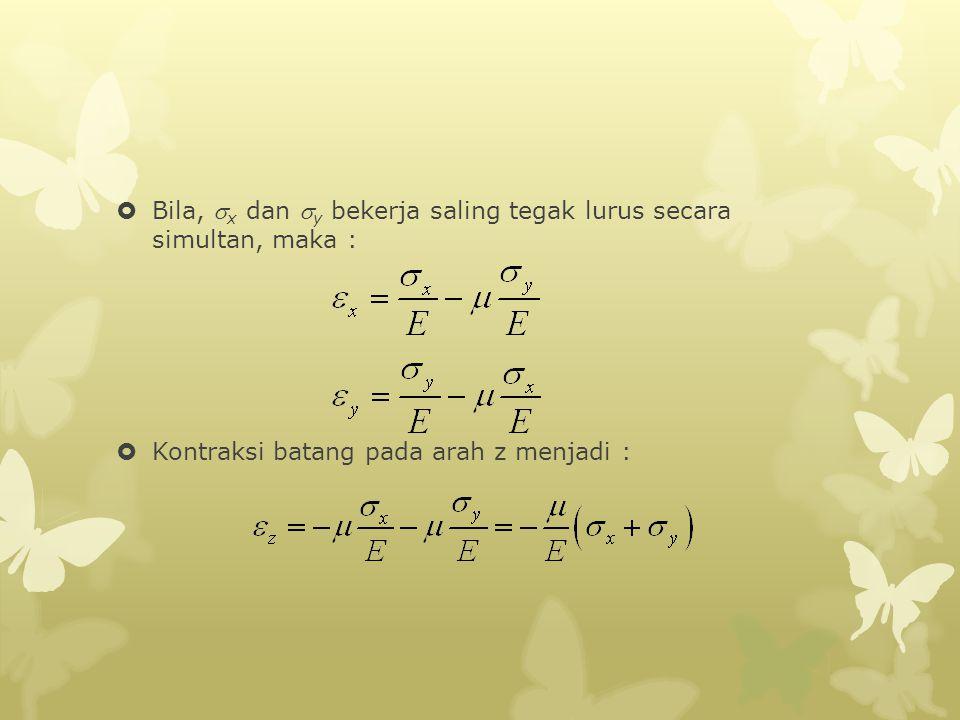 Bila, x dan y bekerja saling tegak lurus secara simultan, maka :