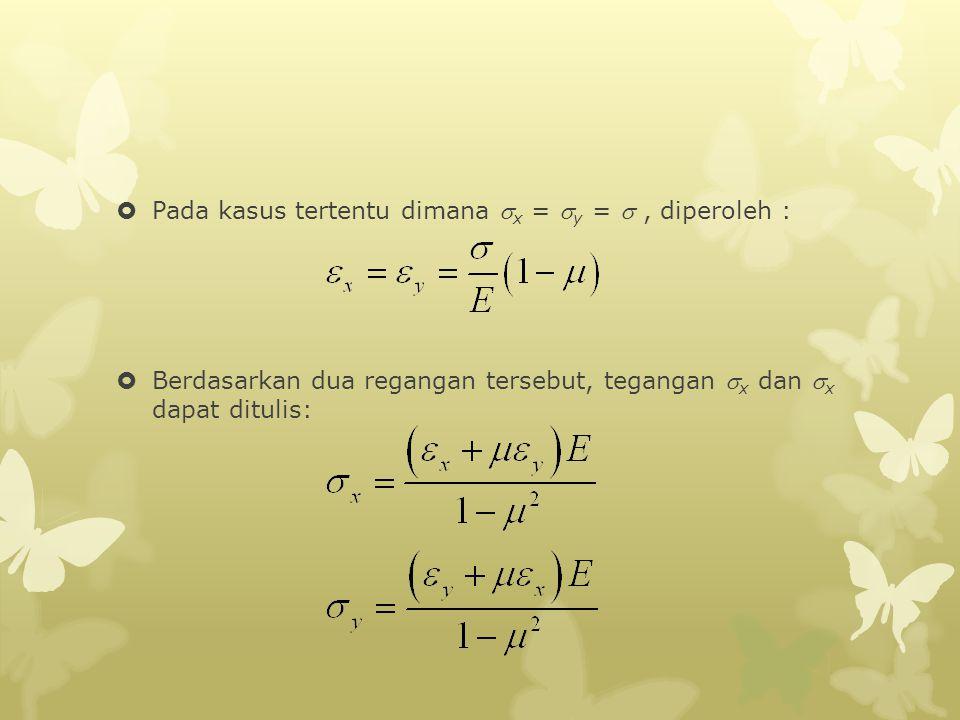 Pada kasus tertentu dimana x = y =  , diperoleh :