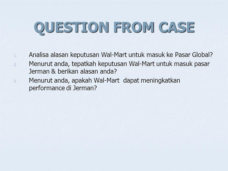 QUESTION FROM CASE Analisa alasan keputusan Wal-Mart untuk masuk ke Pasar Global
