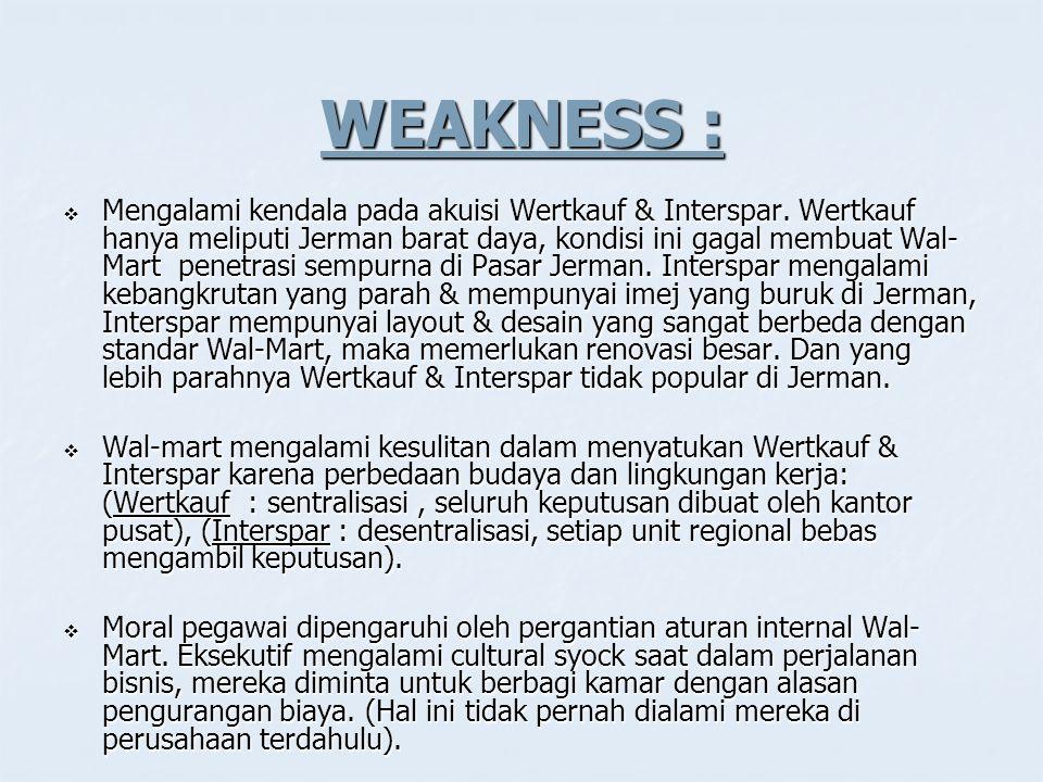 WEAKNESS :