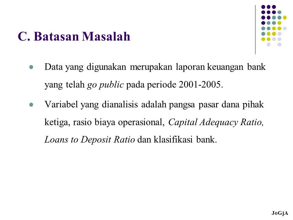 C. Batasan Masalah Data yang digunakan merupakan laporan keuangan bank yang telah go public pada periode 2001-2005.