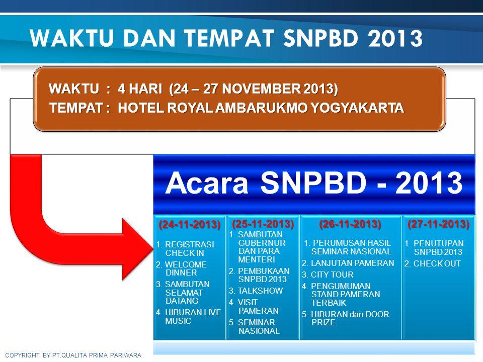 WAKTU DAN TEMPAT SNPBD 2013 WAKTU : 4 HARI (24 – 27 NOVEMBER 2013)
