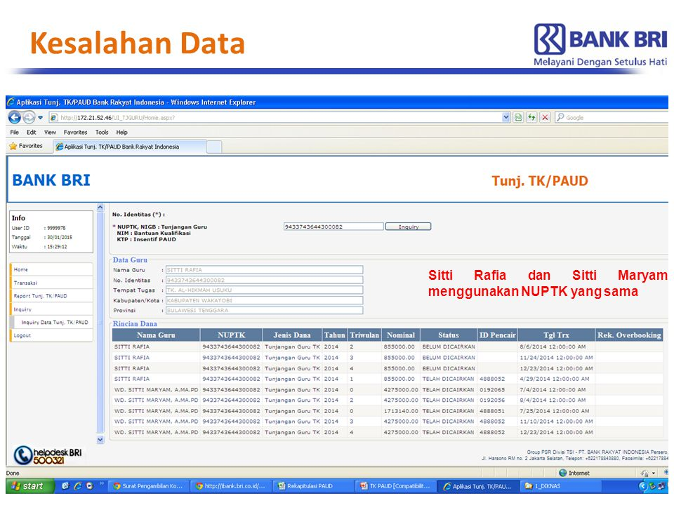 Kesalahan Data Sitti Rafia dan Sitti Maryam menggunakan NUPTK yang sama