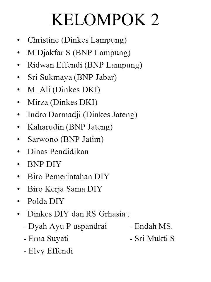 KELOMPOK 2 Christine (Dinkes Lampung) M Djakfar S (BNP Lampung)