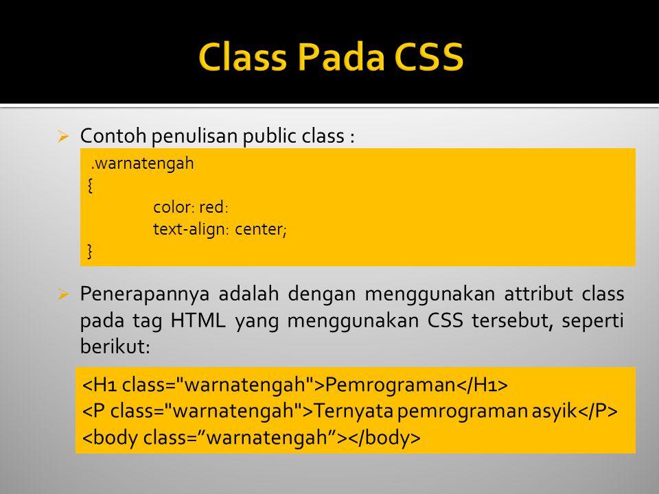 Class Pada CSS Contoh penulisan public class :