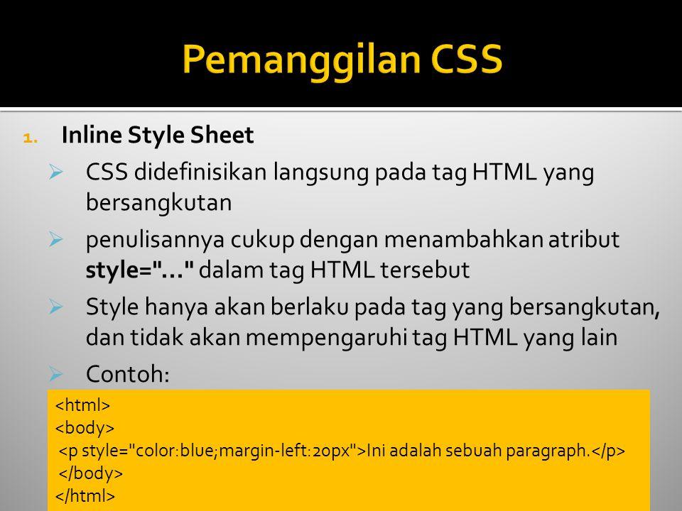 Pemanggilan CSS Inline Style Sheet