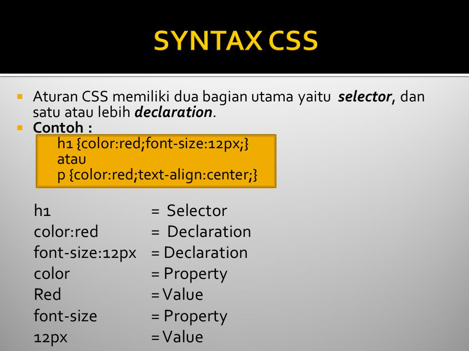 SYNTAX CSS h1 = Selector color:red = Declaration