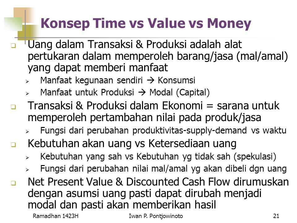 Konsep Time vs Value vs Money