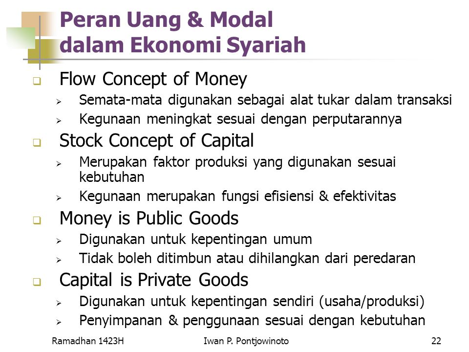 Peran Uang & Modal dalam Ekonomi Syariah