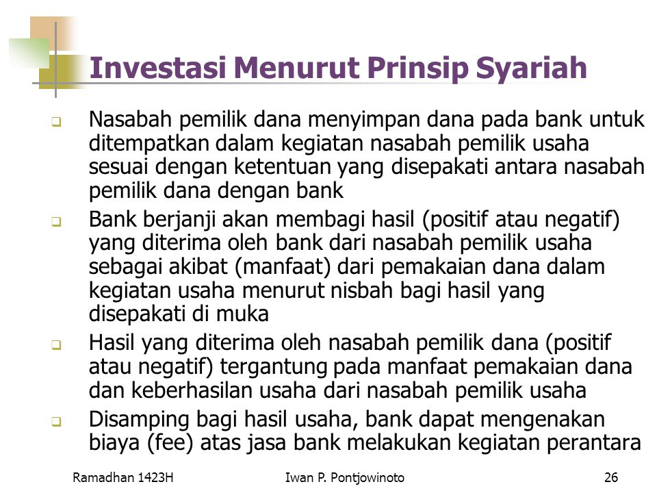 Investasi Menurut Prinsip Syariah