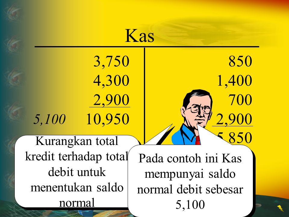 Pada contoh ini Kas mempunyai saldo normal debit sebesar 5,100