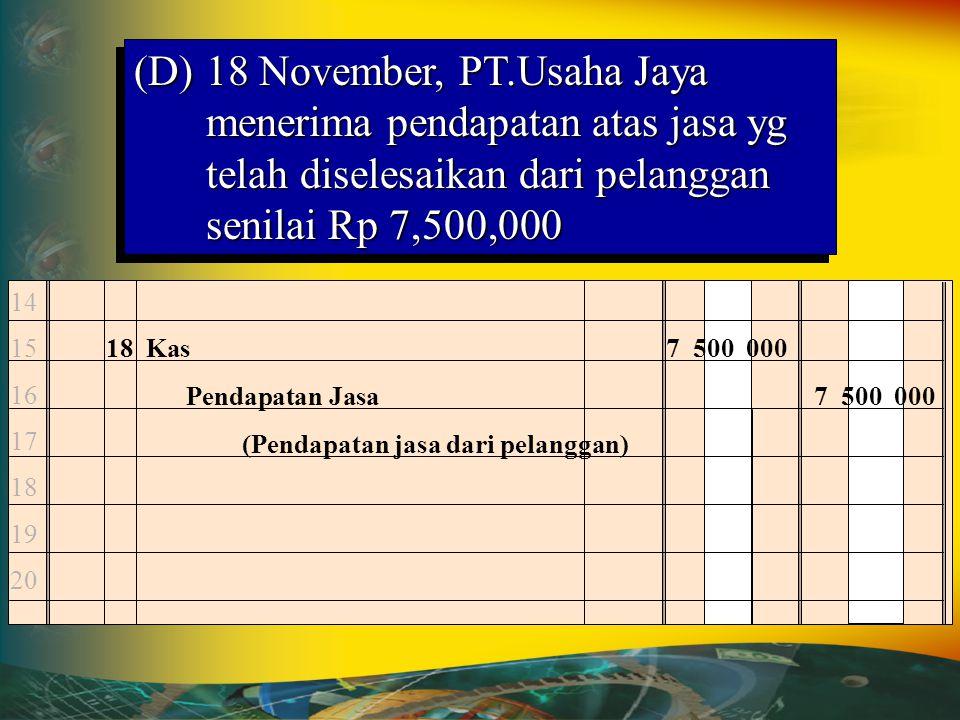 (D) 18 November, PT.Usaha Jaya menerima pendapatan atas jasa yg telah diselesaikan dari pelanggan senilai Rp 7,500,000