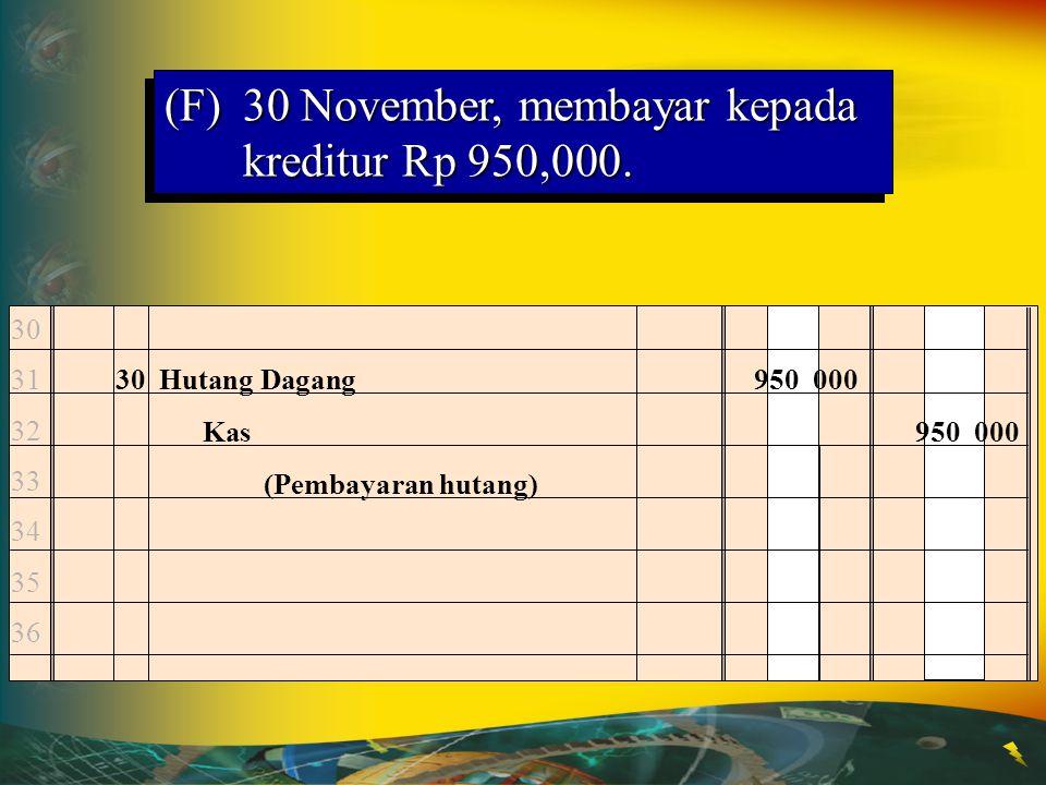 (F) 30 November, membayar kepada kreditur Rp 950,000.