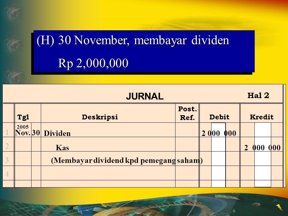 30 November, membayar dividen Rp 2,000,000