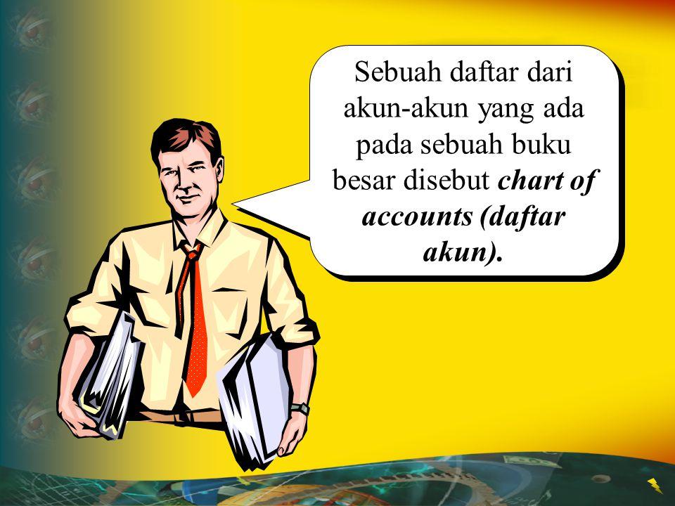 Sebuah daftar dari akun-akun yang ada pada sebuah buku besar disebut chart of accounts (daftar akun).