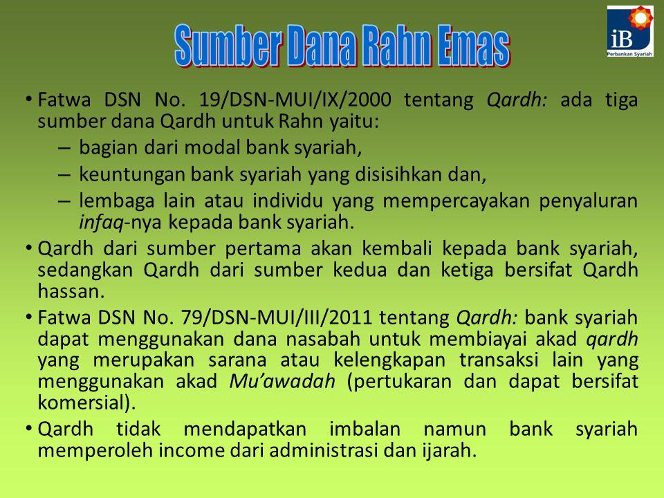 Sumber Dana Rahn Emas Fatwa DSN No. 19/DSN-MUI/IX/2000 tentang Qardh: ada tiga sumber dana Qardh untuk Rahn yaitu: