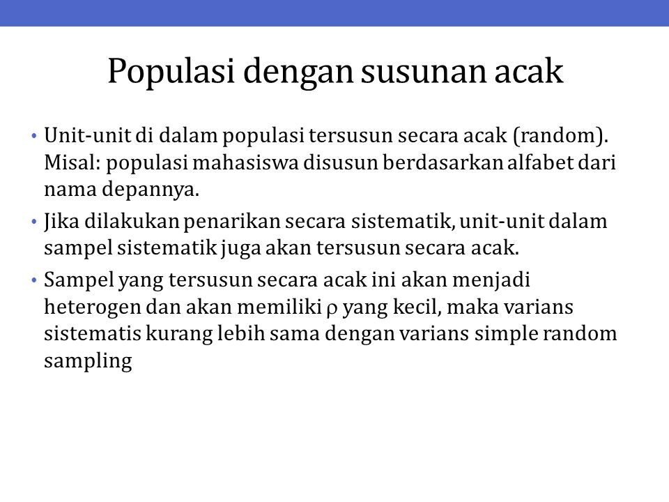 Populasi dengan susunan acak