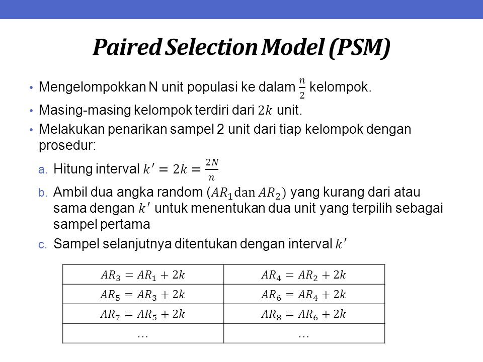 Paired Selection Model (PSM)