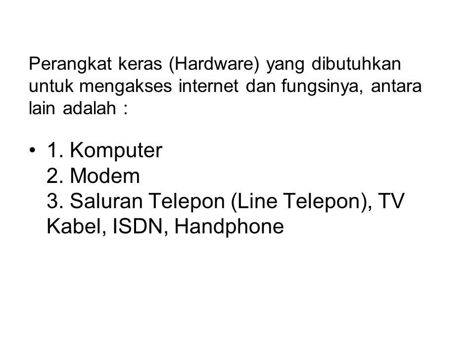 Perangkat keras (Hardware) yang dibutuhkan untuk mengakses internet dan fungsinya, antara lain adalah :