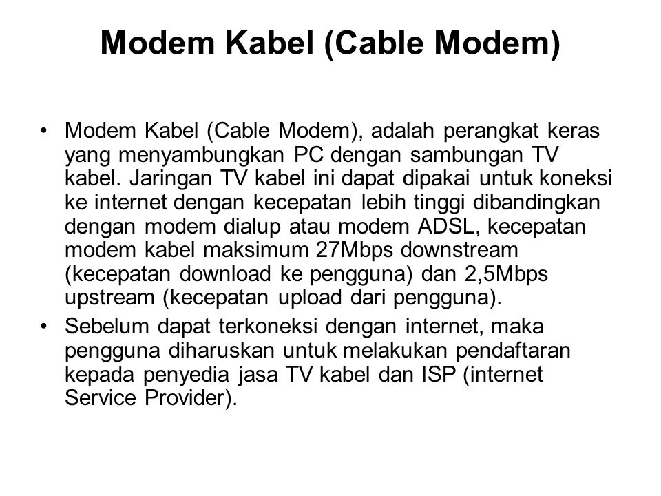 Modem Kabel (Cable Modem)